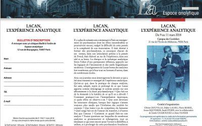 """Colloque d'Espace Analytique """"Lacan, l'expérience analytique"""""""